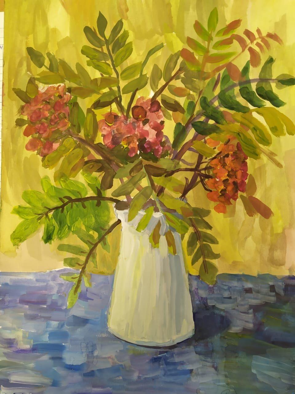 Осенний букет с рябиной рисунок